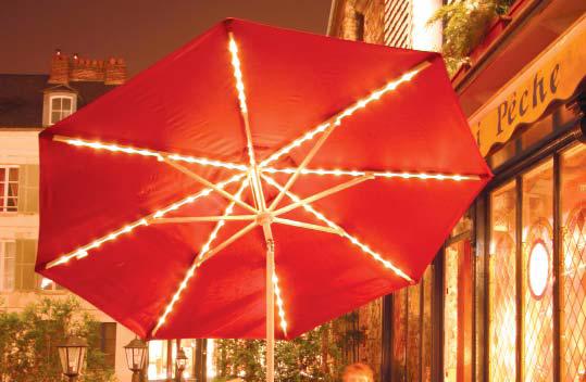 parasol aluminium inclinable avec clairage leds. Black Bedroom Furniture Sets. Home Design Ideas
