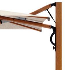 parasol luxe excentré aluminium effet bois 3x3m 3x4m 3.5x3.5m