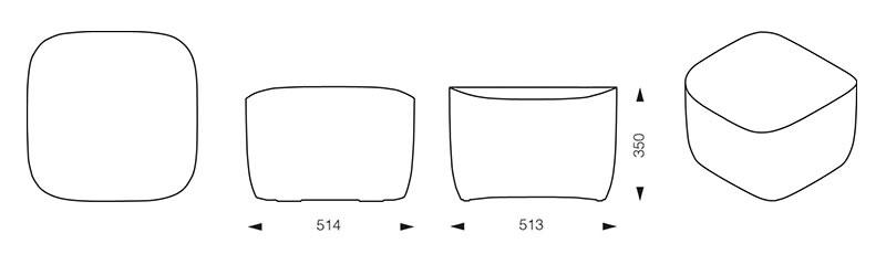 Dimension pouf translation