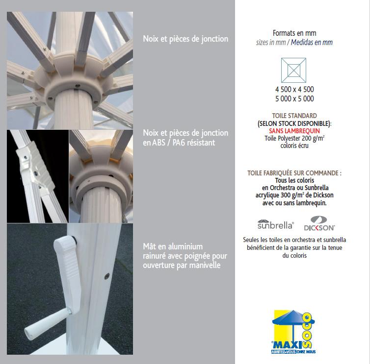 Armature parasol geant 5x5m 4.5x4.5m
