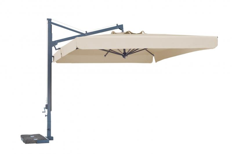 parasol déporté pour CHR restaurant, gain de place, mat excentré, blanc écru