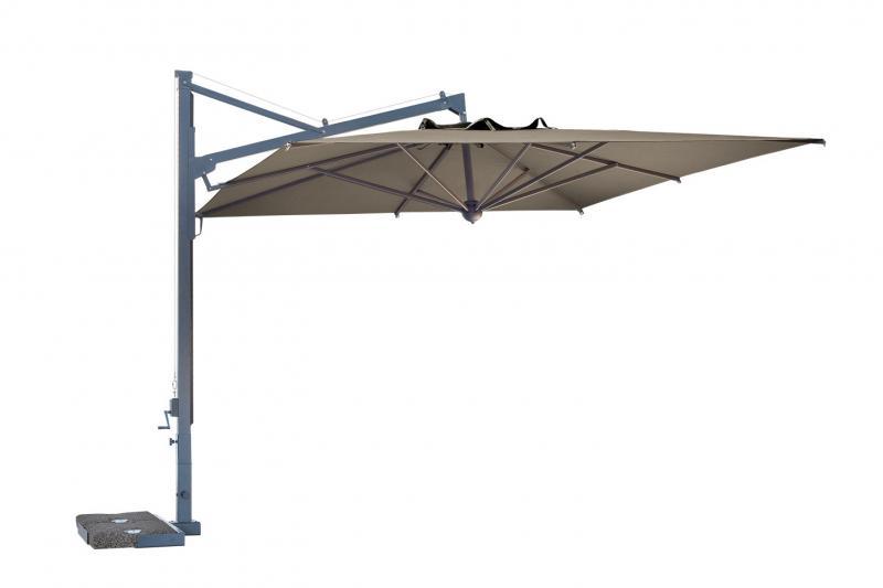 parasol à mât déporté grande qualité Galileo Scolaro avec socle à dalles, ancrage sol,