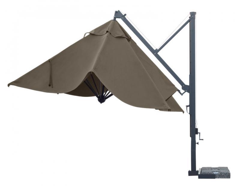 parasol excentré toile acrylique mat gris 4x3m pour piscine jardin terrasse maison design
