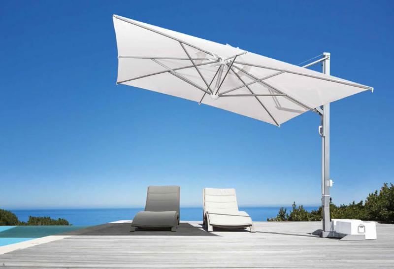 Parasol d port scolaro galil o white ou inox - Parasol rectangulaire deporte inclinable ...
