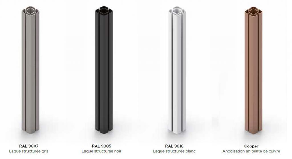 4 coloris de mât aluminium grand parasol déporté pour restaurant Prostor P6 PROSTOR